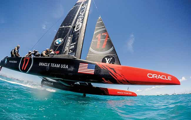 Oracle Team USA's AC50 flying at nearly 50 mph