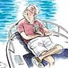 Relaxing on boat cartoon