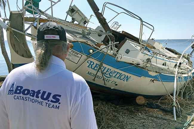 Hurricane damaged sailboat