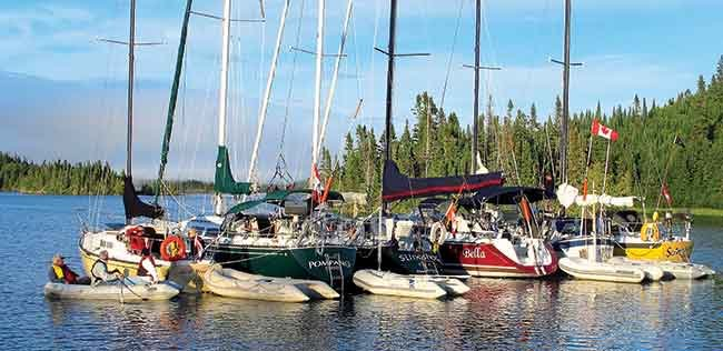 Boaters raft up in Lake Superior's pristine Loon Harbor