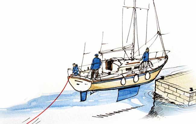 Using a kedge to stop the boat illustration