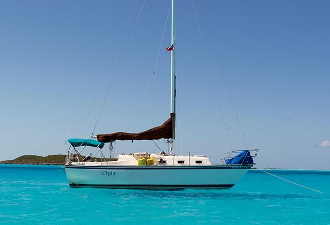 Elpis anchored in the turquoise waters of the Bahamas