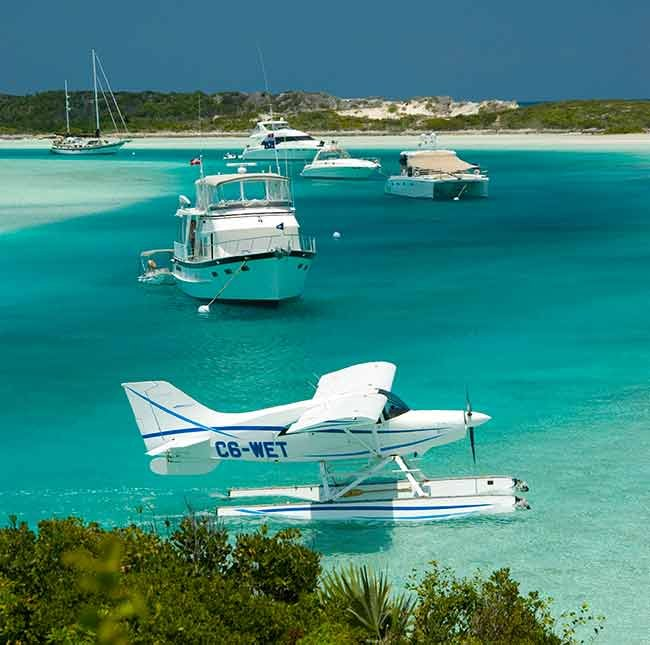 Boats moored at the Exuma Cays Land and Sea Park