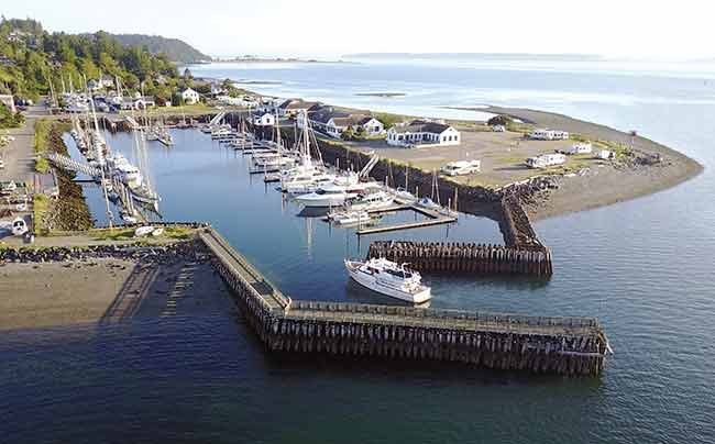 Jetties at Point Hudson Marina in Port Townsend, Washington