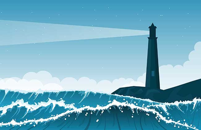 Lighthouse and roaring waves illustration