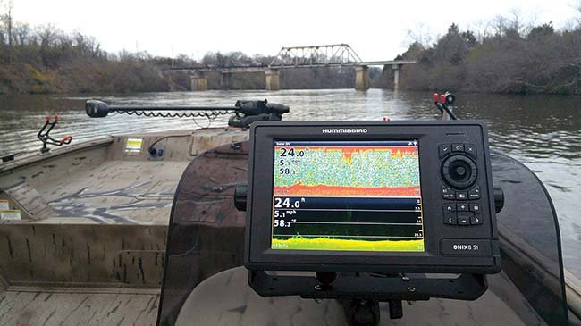 Fishfinder mounted on helm