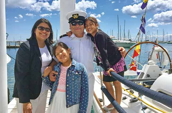 The Sandoval family takes in the annual Chicago Yacht Club fleet review
