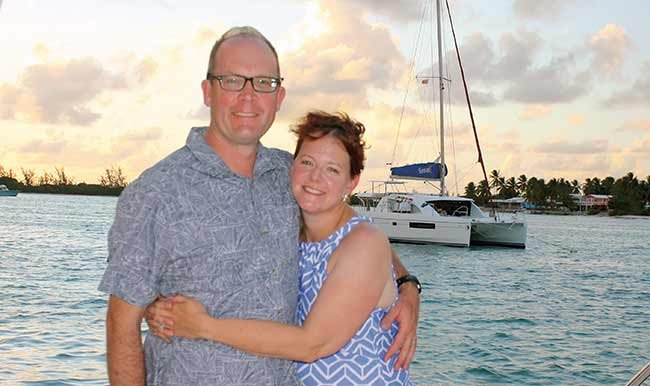 Susan Shingledecker with her husband before dinner at the Wonky Dog in Anegada