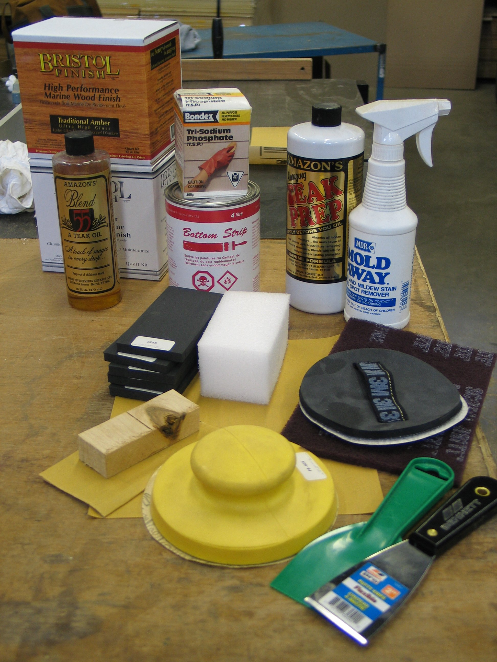 Photo of the refinishing tools you will need