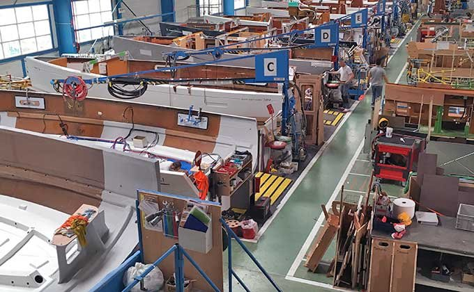 Assembly line at Beneteau factory
