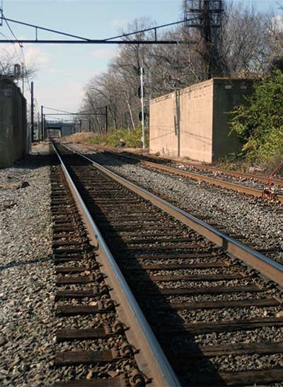Railroad tracks alongside the Yacht Club