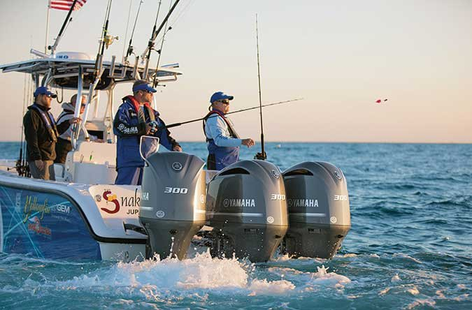 Yamaha F300 outboards on a fishing boat