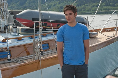 Actor Zac Efron by sailboat