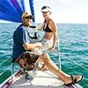 Ryan and Nicole Levinson on their sailboat