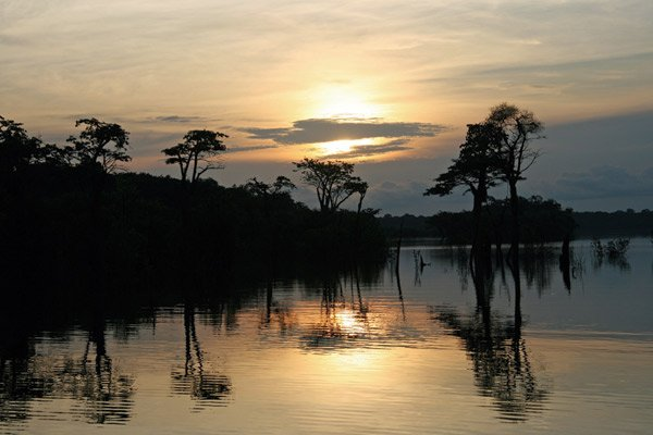 Photo of the Amazon River at sunset