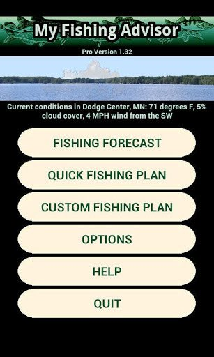 My Fishing Advisor app screen shot