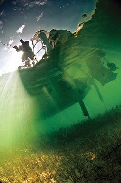 Photo of a Minn Kota auto anchor seen underwater