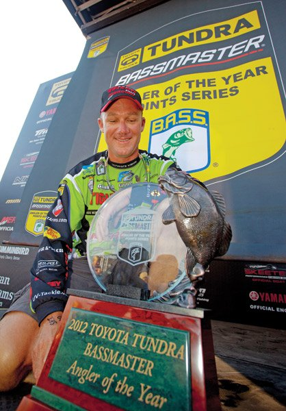 Photo of Brent Chapman with his Angler of the Year trophy