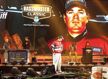 Photo of Cliff Pace on stage at the 2013 Bassmaster Classic
