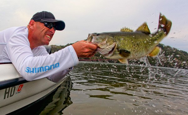 Dave Mercer fights to bring in a bass