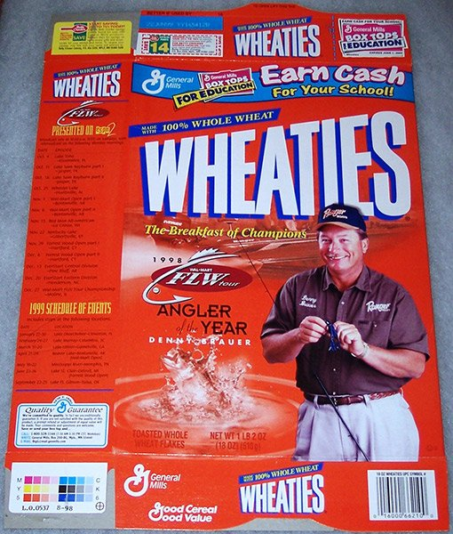 photo of a Wheaties cereal box featuring Denny Brauer