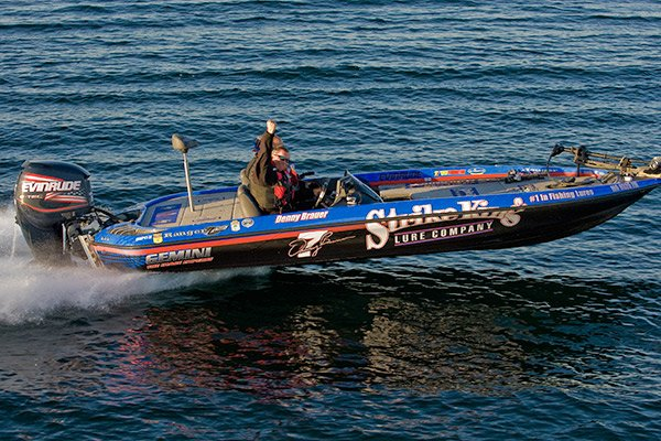Photo of Denny Brauer in a bass boat