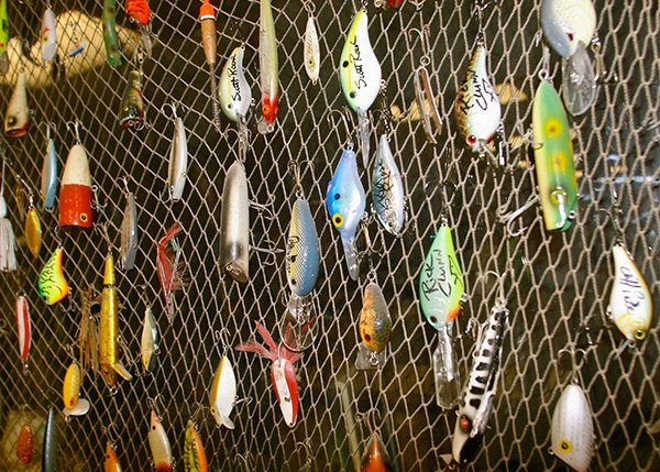 Photo of fishing lures on a net