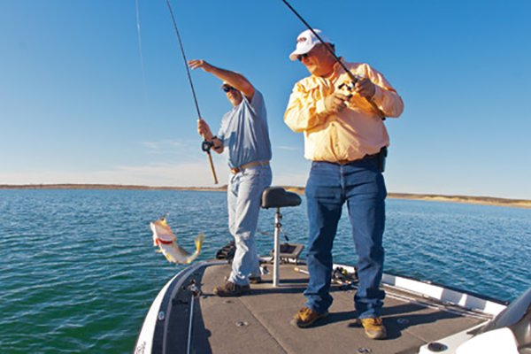 Photo of Brian Harris and Stan Gerzsenyi fishing in Texas
