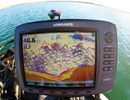 Screenshot from a Lowrance Fishfinder