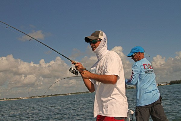 Photo of Capt Geoff Page and Dave Bertolozzi fishing the Florida flats
