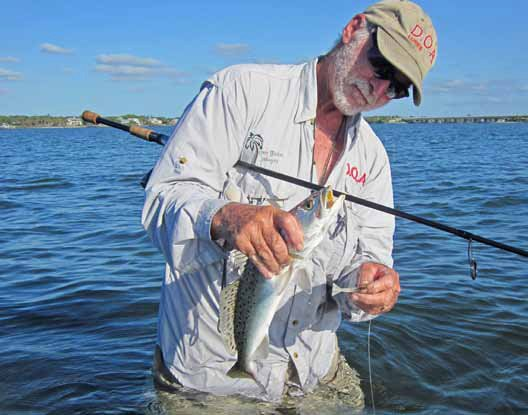 Photo of an angler wading while fishing in the Florida flats