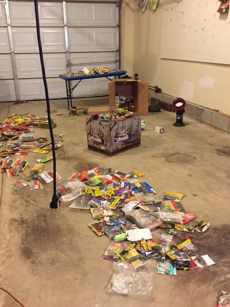 Photo of plastic baits on the garage floor