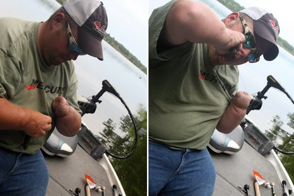 Photo of Hunter Baughman tying a lure