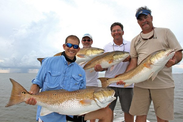 Photo of Jarrod Gutafson, Steve Wright, Tommy Sanders, and Steve Bowman with their redfish catch