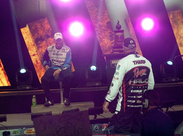 Photo of Randy Howell and Randy Tharp at 2014 Bassmaster Classic weigh-in