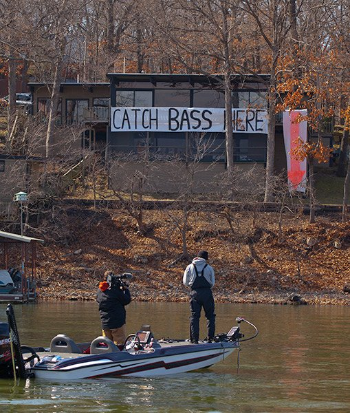 Photo of a Catch Bass Here sign