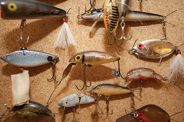 Photo of a variety of fishing lures extracted from patients