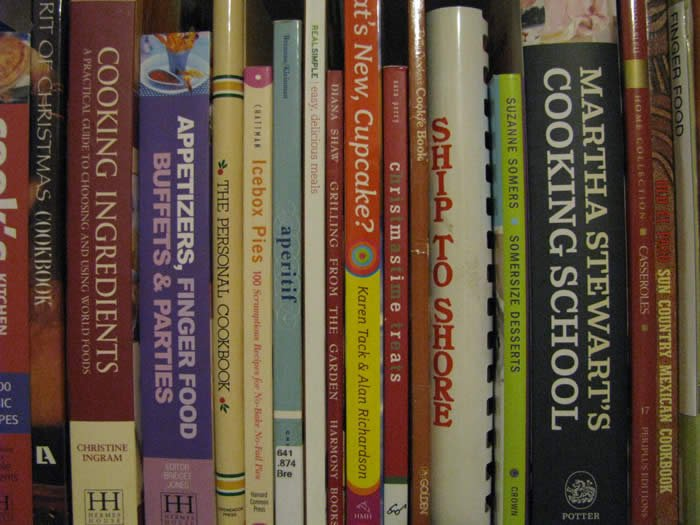 Thumbnail photo of cookbooks on a bookshelf