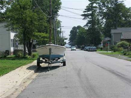 Photo of a boat parked on the street