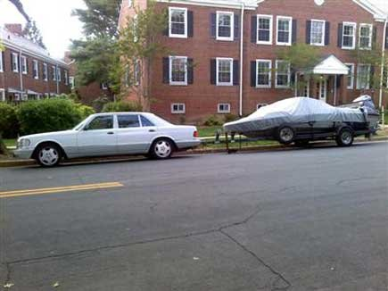 Photo of a boat trailer parked on a VA street