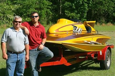 photo of Brian and Steve Maloney with hydroplane Go-Go Girl