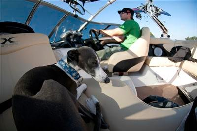 photo of Travis Moye and his dog in a boat