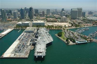 aerial photo of USS Midway Museum