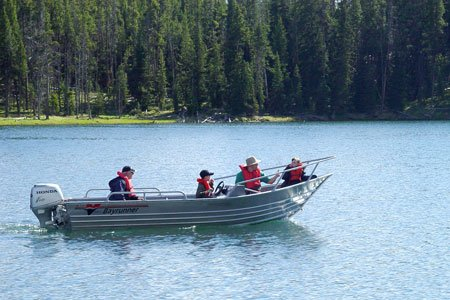 photo of people boating on Yellowstone Lake