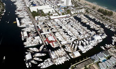 Aerial photo of a marina in Fort Lauderdale, Florida