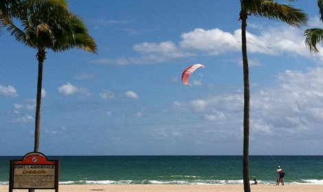 photo of a kite boarder on Fort Lauderdale Beach