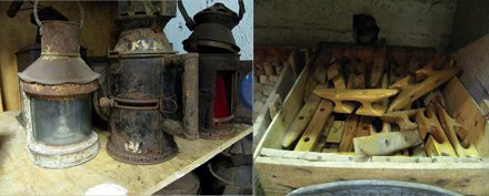photo of old boat parts
