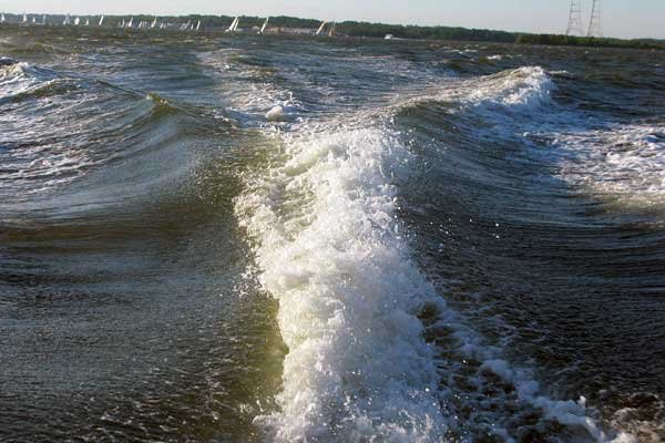 Photo of a wake behind a boat