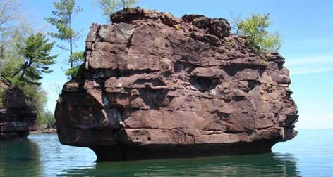Photo of a rock formation off Apostle Islands, WI