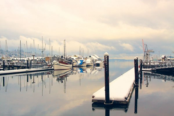 Photo of a marina in winter